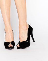 Little Mistress Peeptoe Platform Heeled Shoes Black
