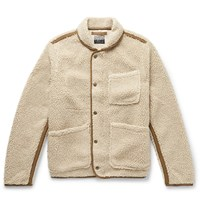J.Crew Nordic Shawl Collar Grosgrain Trimmed Fleece Jacket Neutrals