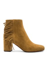 Saint Laurent Suede Babies Fringe Zip Boots In Brown