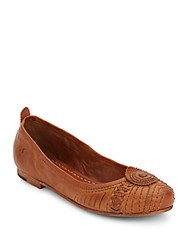 Frye Stitched Carson Ballet Flats Brown