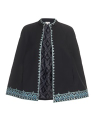 Talitha Embroidered Wool Blend Cape