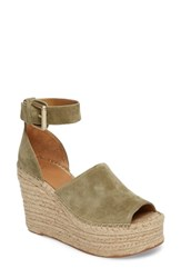 Marc Fisher Women's Ltd 'Adalyn' Espadrille Wedge Sandal Light Green Suede