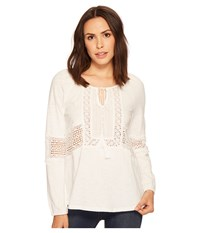 Miss Me Keyhole Lace Top Off White Women's Clothing