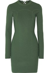 3.1 Phillip Lim Lace Up Ribbed Stretch Knit Mini Dress Army Green