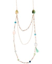 Lonna And Lilly Gold Tone Stone Beads Triple Layer Necklace