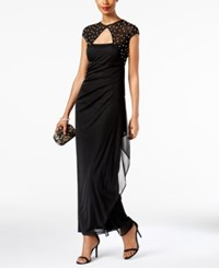 Msk Embellished Bow Back Ruffled Gown Black