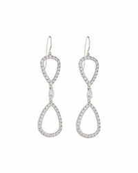 Fantasia Open Pear Cz Double Drop Earrings