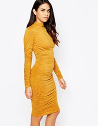Ax Paris Long Sleeve Bodycon Dress With Ruching Mustard White