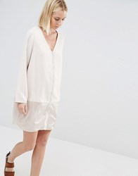 Paisie Shift Dress With Satin Lower Panel Nude Beige