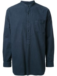 Gold Flannel Band Collar Pullover Shirt Blue