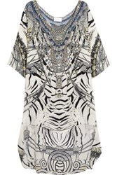 Camilla Chinese Whispers Embellished Printed Silk Crepe De Chine Dress White