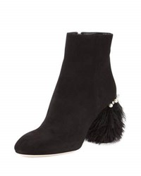 Miu Miu Suede Feather Heel Ankle Boot Nero