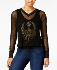 Star Wars Juniors' Mesh Sequined Graphic Top Black