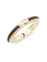 Saks Fifth Avenue Goldtone Metal Leather And Glass Hinged Bangle Bracelet Brown