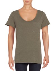 Lord And Taylor Petite Solid Scoopneck Cotton Slub Tee Fern