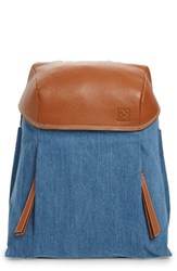 Loewe T Small Denim And Leather Backpack
