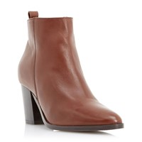 Dune Piper Pointed Toe Heeled Ankle Boots Tan