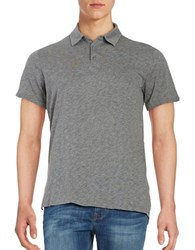 Velvet By Graham And Spencer Short Sleeve Slub Polo Charcoal Grey