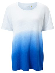 John Lewis Collection Weekend By Ombre Linen Drop Shoulder T Shirt Blue White