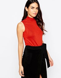 Ax Paris High Neck Crop Top Rust Red