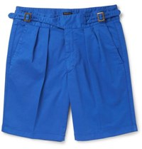 Rubinacci Manny Pleated Stretch Cotton Twill Shorts Blue