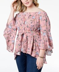 Planet Gold Trendy Plus Size Printed Off The Shoulder Open Back Top Flame Scarlet Combo