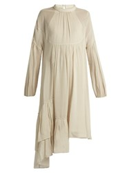 Tibi Ruffled Asymmetric Hem Dress Light Beige