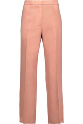 Rochas Cropped Wool Canvas Straight Leg Pants Coral