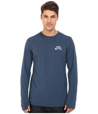 Nike Sb Skyline Dri Fit Cool Long Sleeve Crew Squadron Blue Reflective Silver Men's Long Sleeve Pullover