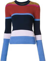 Derek Lam 10 Crosby Striped Crew Neck Jumper Blue