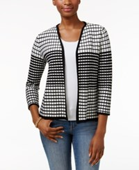Charter Club Petite Open Front Textured Cardigan Only At Macy's Deep Black Combo