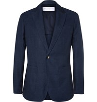 Private White V.C. Blue Ecoseam Linen And Wool Blend Hopsack Blazer Blue