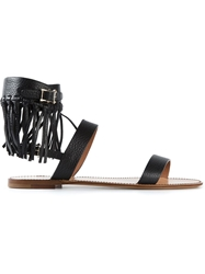 Valentino Garavani Fringed Sandals Black