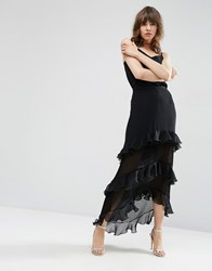 Asos Maxi Skirt With Ruffle And Pleat Detail Black