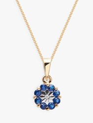 A B Davis 9Ct Gold Precious Stone And Diamond Flower Pendant Necklace Sapphire