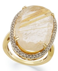Macy's 14K Gold Over Sterling Silver Ring Golden Rutilated Quartz 12 3 8 Ct. T.W. And Diamond 1 4 Ct. T.W. Ring