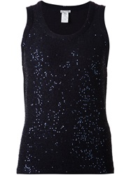 Oscar De La Renta Sequin Tank Top Blue
