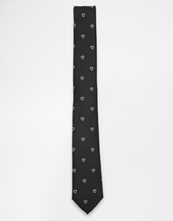 Asos Tie With Heart Jacquard Black
