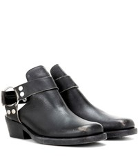 Balenciaga Cut Out Leather Ankle Boots Black