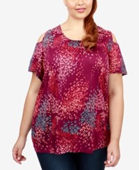 Lucky Brand Trendy Plus Size Printed Cold Shoulder T Shirt Fuschia Multi