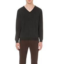 Slowear V Neck Flexwool Jumper Charcoal