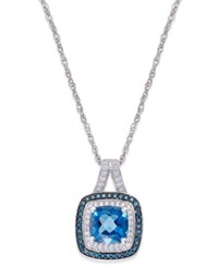 Macy's Blue Topaz 1 1 10 Ct. T.W. And Diamond 1 4 Ct. T.W. Halo Pendant Necklace In 14K White Gold