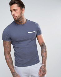 Another Influence Tape Edge Pocket T Shirt Navy