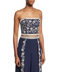 Alice Olivia Saraphina Embroidered Strapless Crop Top Blue