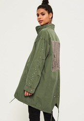 Missguided Petite Khaki Sequin Back Oversized Parka