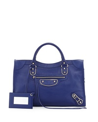 Balenciaga Classic Chevre Grainee City Bag Blue