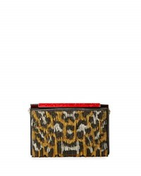 Christian Louboutin Vanite Sequined Leopard Print Clutch Bag Gold Black Silver Black Gold Silver