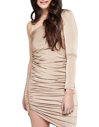 Miss Selfridge One Shoulder Ruched Dress Brown