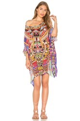 Camilla Short Round Neck Kaftan Red