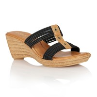 Lotus Verona Wedge Sandals Black